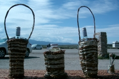 PLAND - red willow baskets and pee fertiliser stall Taos Gorge bridge
